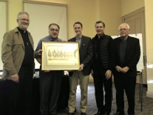 Presentation to Father Tom Rosica, CSB and Sebastian Gomes  at the conclusion of Sunday's panel discussion.  Pictures left to right are: Father Bill Antone, OMI, Father Tom Rosica, CSB, Sebastian Gomes, Archbishop Gustvao Garcia-Siller, M.Sp.S., and Father Ron Rolheiser, OMI.
