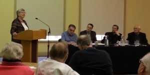 Sister Theresa Sandok, OSM, facilitates Sunday morning's panel discussion.